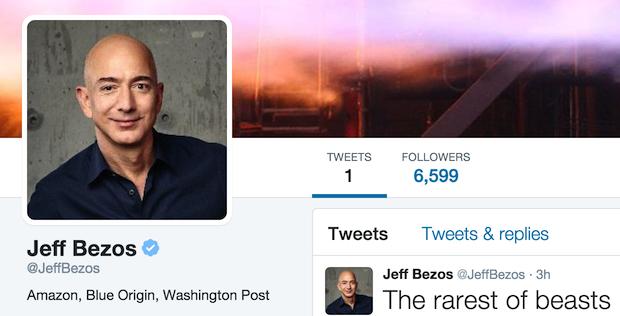Amazon's Jeff Bezos now has his first tweet under his belt. (Credit: Twitter)