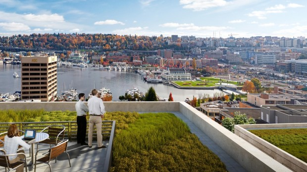 A rendering shows the view from the Dexter Station building in Seattle that Facebook will occupy.