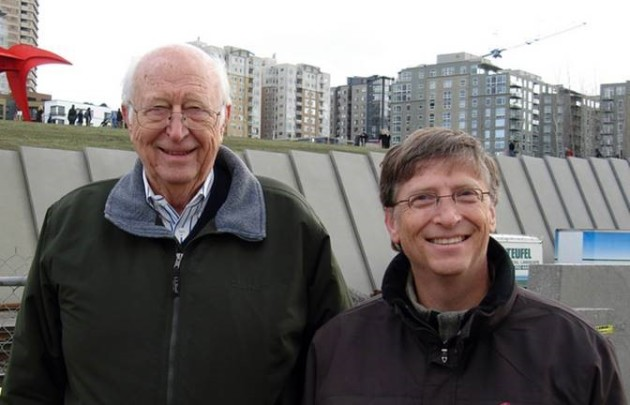 Bill Gates Sr. and Jr. at Seattle's Olympic Sculpture Park, whose creation was overseen by Mimi Gates, wife of Gates Sr. (Photo from Gates family.)