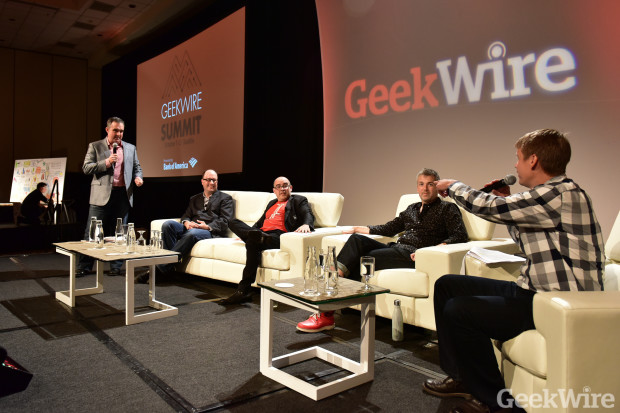 Sqoop founder Bill Hankes, far left, pitches Todd Bishop, Dave McClure, Brady Forrest and John Cook at the GeekWire Summit.
