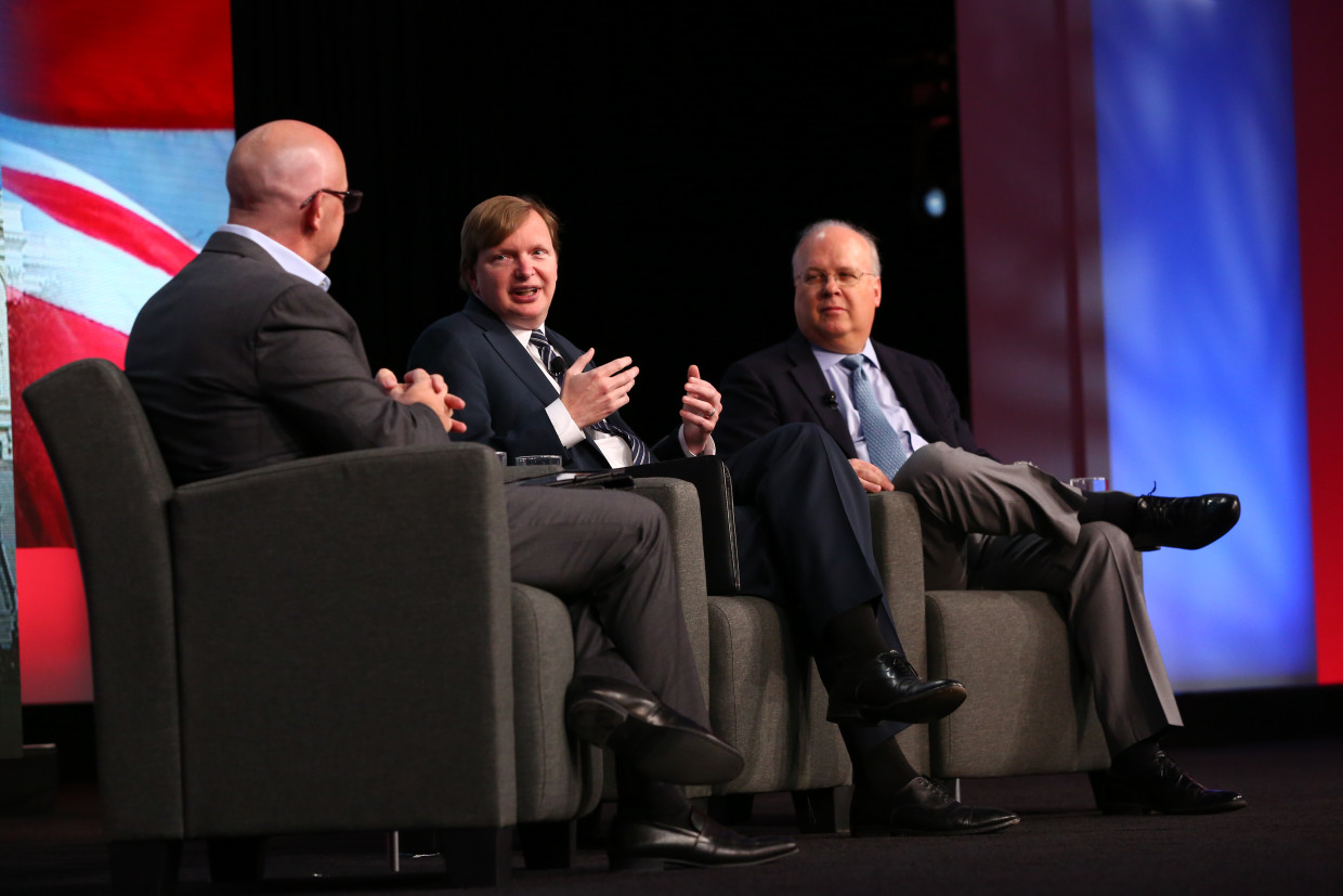 Jim Messina and Karl Rove at the EY Strategic Growth Forum