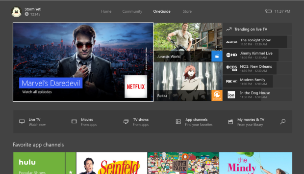 The OneGuide tab now shows content from within streaming apps