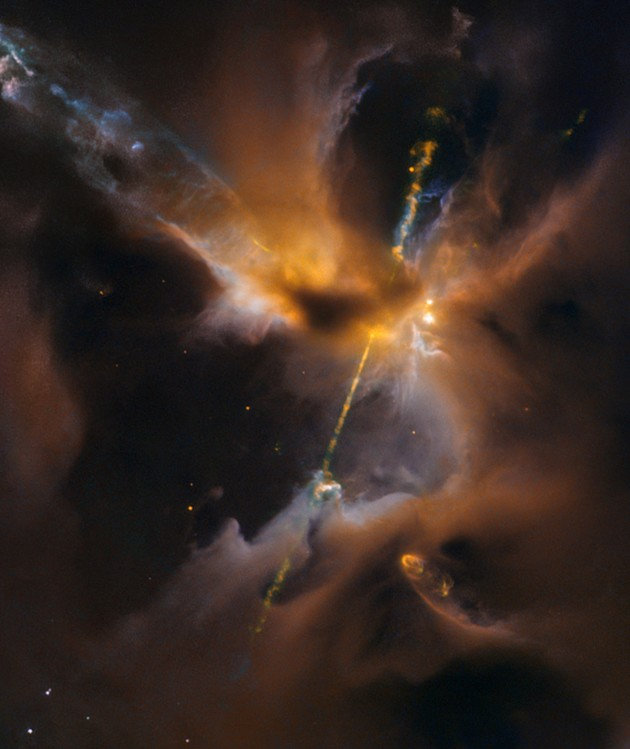 An image from the Hubble Space Telescope focuses on jets of hot gas blazing forth from a protostar called Herbig-Haro 24. (Credit: NASA / ESA)