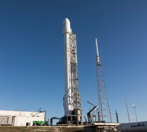 SpaceX Falcon rocket on pad