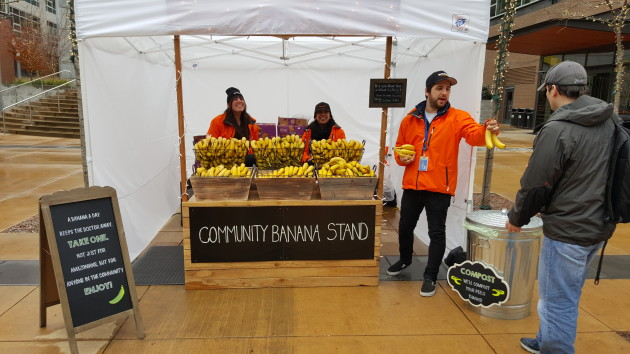 Amazon is now giving away free bananas to anyone who walks by its Seattle headquarters.