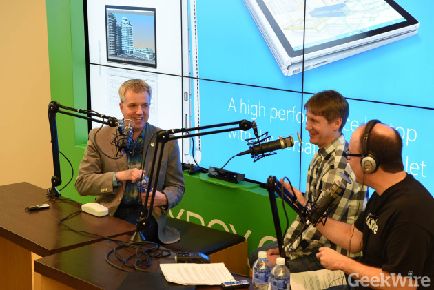 Larry Hryb (aka Major Nelson) records the GeekWire podcast at the Microsoft Store in Seattle's University Village, with GeekWire's John Cook and Todd Bishop.