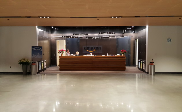 The front desk inside Amazons new Meeting Center building.