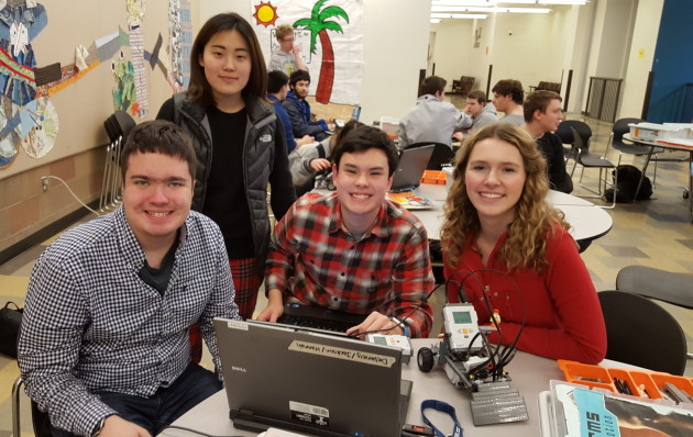 Delaney Foster, far right, a student at Kings High School in Shoreline, founded the Unified Robotics Club to give students of all abilities the chance to build robots. Photo: Lisa Stiffler