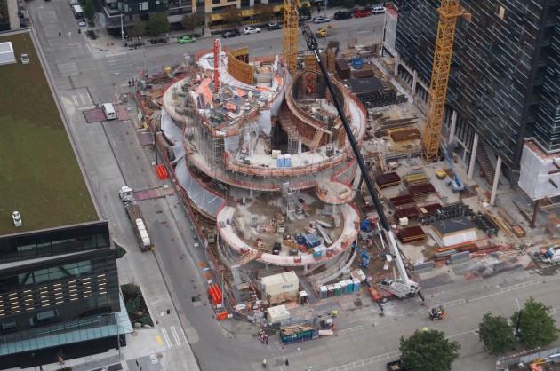 Amazons spheres under construction. GeekWire Photo, Jacob Demmitt
