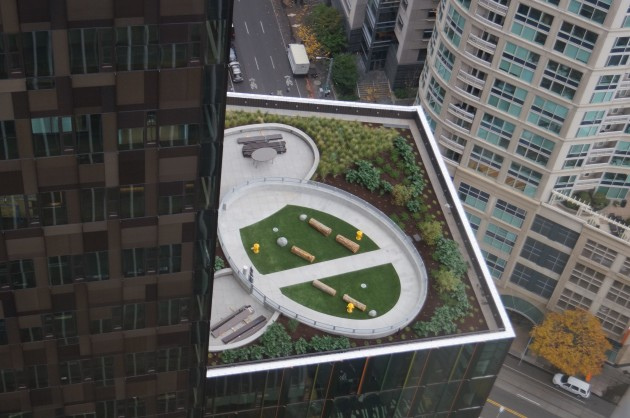 Amazons new Doppler office tower features a rooftop dog park on the 17th floor. GeekWire Photo, Jacob Demmitt