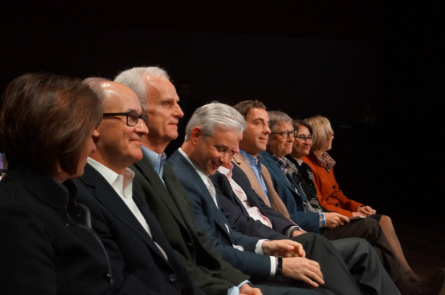 Bill Gates, third from right, with other Microsoft board members at the company's December 2015 shareholder meeting. (GeekWire File Photo)