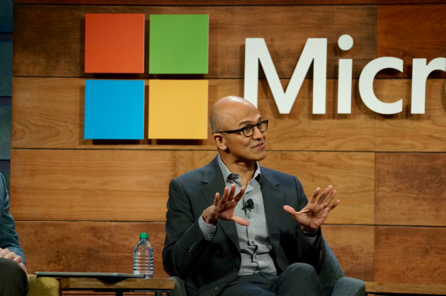 Microsoft CEO Satya Nadella speaks at the company's annual shareholders meeting. (GeekWire Photo.)
