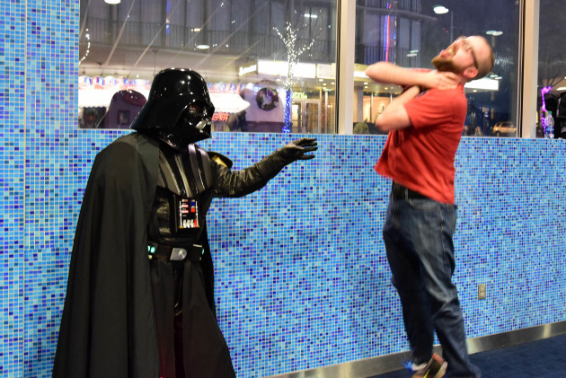 GeekWire contest winner Kyle Boynton being Force choked by Darth Vader