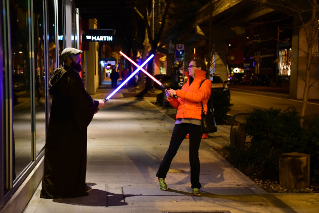 Light saber battle at 3:30AM before Attack of the Clones