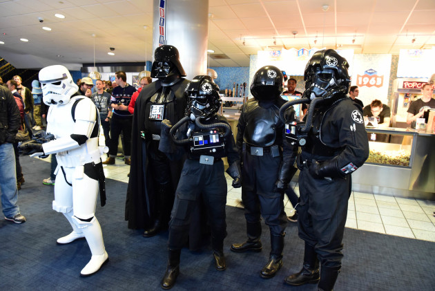 Storm trooper, Darth Vader and his TIE fighter crew