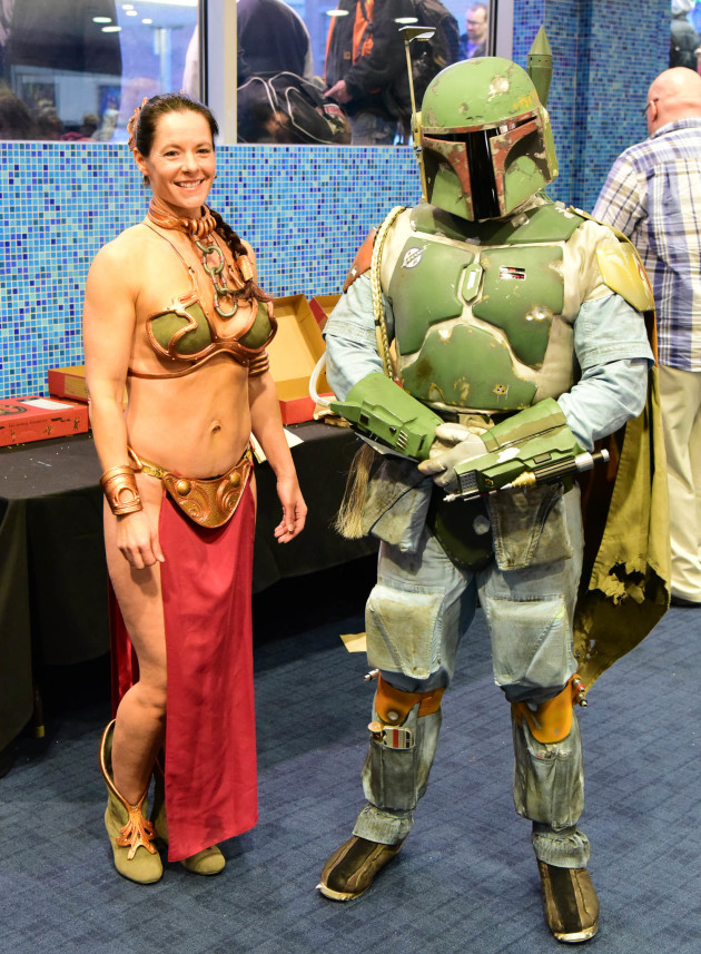 Today's bravest cosplay - Leia in metal bikini and Boba Fett
