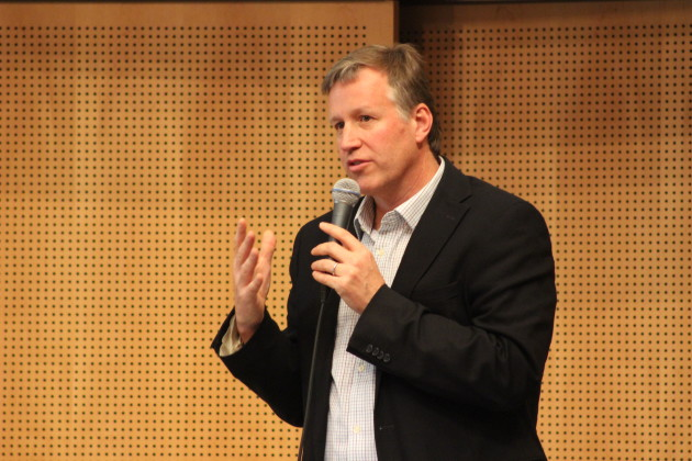 Seattle Councilmember Mike O'Brien speaks at a City Council meeting last year. (GeekWire File Photo)
