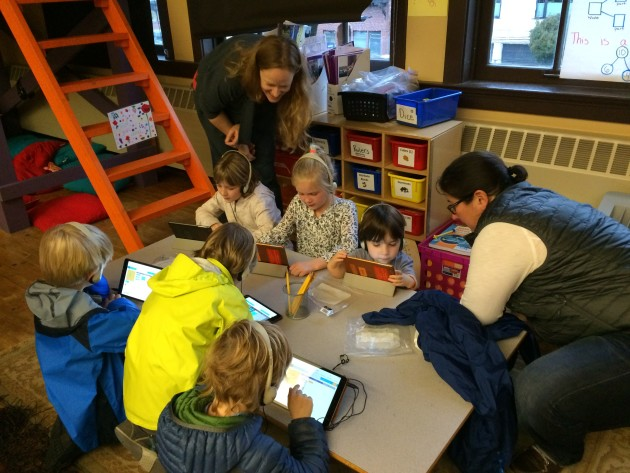 "Students at Queen Anne Elementary participate in ""Hour of Code."" Photo via Julie Smith."