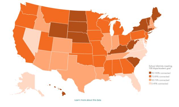 Photo via EducationSuperHighway/Map of U.S. school connectivity