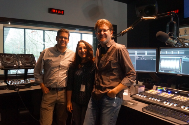 Photo via GeekWire/Molly Brown/KEXP staff (left to right): Chief engineer Jamie Alls, DJ Cheryl Waters, and software developer Greg Rice