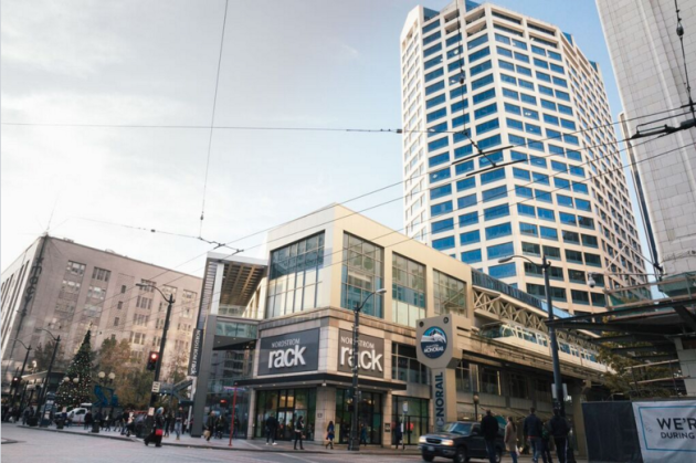 WeWork's third Seattle location will be in the 10th and 11th floors of the Westlake Tower (right). Photo via