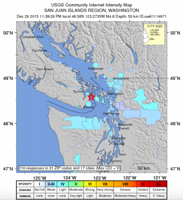 Magnitude 4 8 Earthquake Hits 85 Miles North Of Seattle Largest In