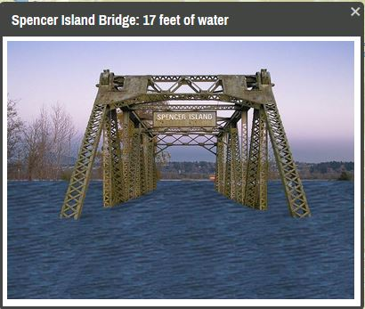 The app includes photos of various landmarks, including this image of the Spencer Bridge, under different flooding conditions.