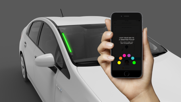 uber gives drivers color coded windshield leds to help riders find the right vehicle geekwire. Black Bedroom Furniture Sets. Home Design Ideas
