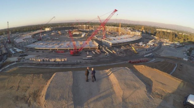 Tim Cook and Charlie Rose overlook Apple's new campus