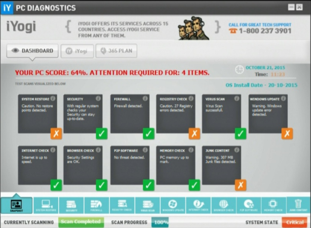 A screenshot of the iYogi software included in the suit.