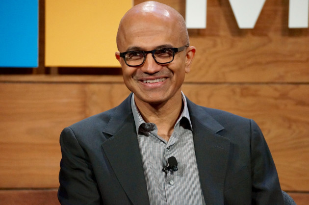 Microsoft CEO Satya Nadella speaks at the company's annual shareholders meeting. (GeekWire Photo)