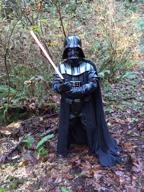 Darth Vader is ready to greet the kids.