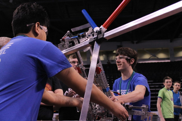 Vancouver, Wash.'s Mountain View High School Thunder Bots practice before their match during the FIRST Tech Challenge Western Washington state Championship in Kent.