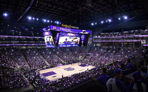 A rendering of the new big screen at The Golden Center. Photo via Sacramento Kings.
