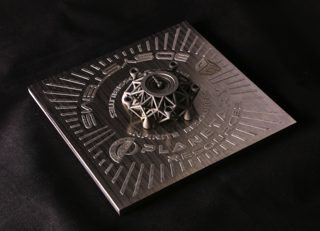 3-D printed object using space metal