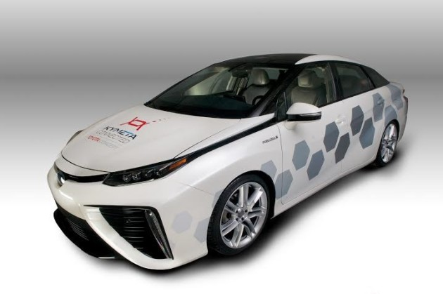 Mirai vehicle with Kymeta satellite antenna system