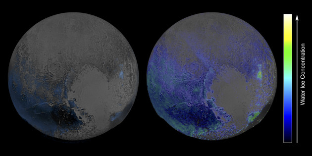Pluto is covered in a lot of frozen water