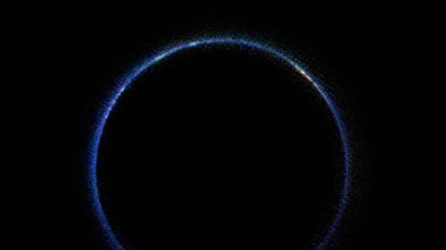 Backlit Pluto atmosphere in infrared
