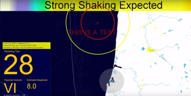 Image: ShakeAlert earthquake simulation