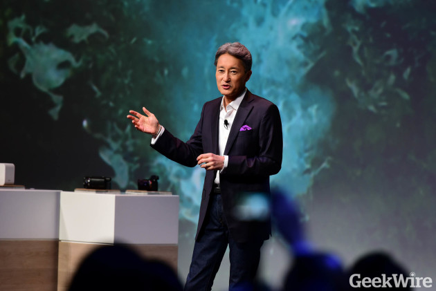 Sony CEO Kaz Hirai speaks at his company's CES press conference in Las Vegas on Tuesday.
