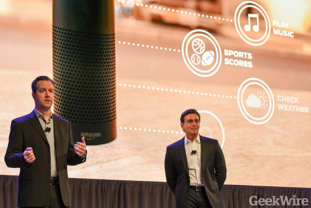 Amazon VP Greg Hart and Ford CEO Mark Fields at CES 2016