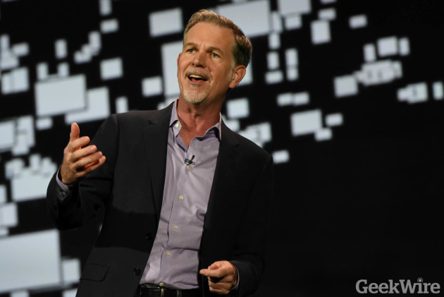 Netflix CEO Reed Hastings speaks at the Consumer Electronics Show (GeekWire photo)