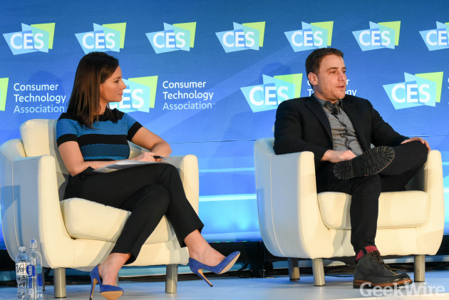 ABC News correspondent Rebecca Jarvis and Slack CEO Stewart Butterfield at CES 2016