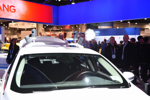 Velodyne LiDAR sensor on Ford vehicle at CES 2016
