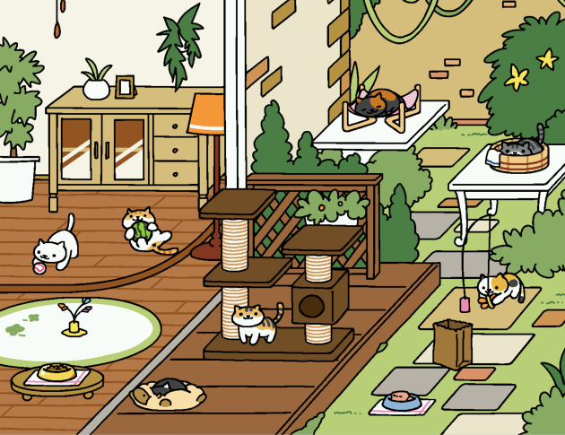 Neko Atsume: Kitty Collector lets users collect wandering cats by setting out toys and food. Photo from Neko Atsume.