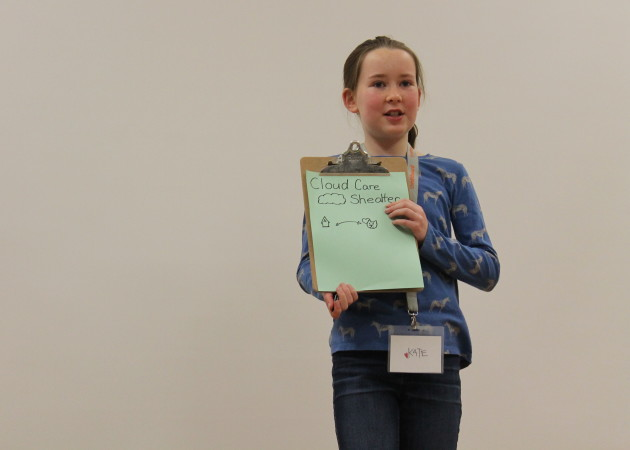 Kate Jacobs, 11, pitches her startup Cloud Care Shelter, a site that partners homeless pets with temporary care. Jacobs idea was selected as one of six ideas the girls worked to develop throughout the weekend.