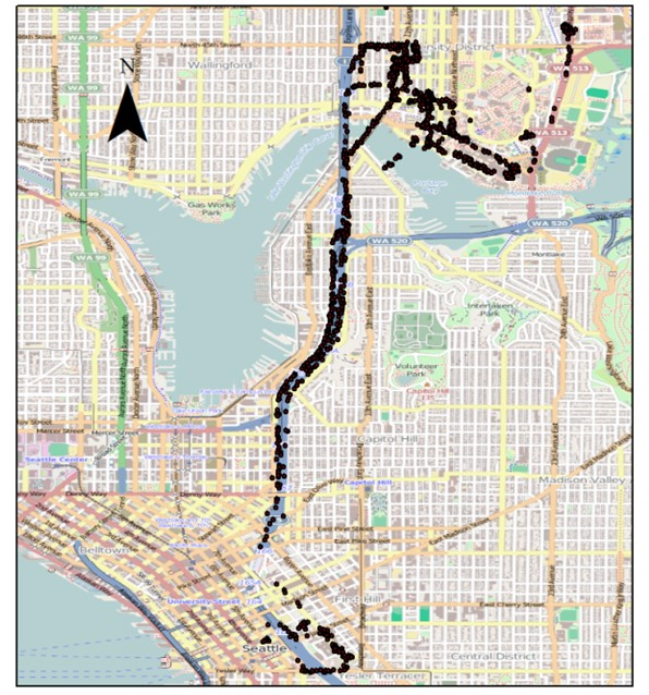 This map shows the detection of Bluetooth signals collected from one of the UW buses. The gaps in the map were caused when the bus traveled through a tunnel and the GPS signal was lost. Image: UW.