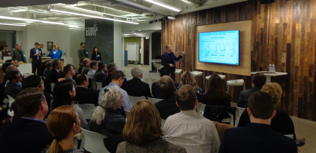 Elevar CEO Chris Edell presented on changes in the healthcare market during the CHI Franciscan Reverse-Pitch Day at Cambria Grove on January 20th. Poto by Clare McGrane.