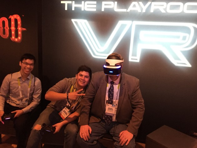 The author personally experienced another VR-driven innovation: VR photobombing. Rasmus is seen here with an unidentified CES attendee with whom he was playing a game of cat and mouse during a Sony PlaystationVR demo.