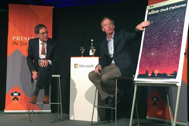 Brad Smith, president and chief legal officer of Microsoft, points to the Seattle Tech Universe map during a talk in Davos, Switzerland, while Princeton University President Christopher L. Eisgruber looks on. Photo by Thomas Quirk, Princeton Office of Development.